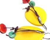 Canary  Yellow Tagua Nut Earrings with Leather - yellow, teal, salmon, brown, natural,organic