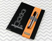 Notebook, Dayplanner or Journal Sleeve or Bandolier with Pen and Pencil Holder - Orange