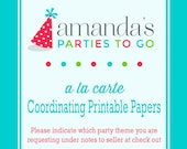 Coordinating Papers Printable | A la Carte Party Single | Amanda's Parties To Go