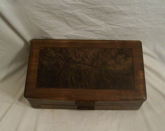 Large Walnut Jewelry Box with Fancy Walnut Inlayed Panel from our Elite Collection 3