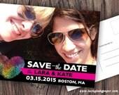 Customized PDF file: Rainbow Fingerprint Heart Modern Save the Date Postcard by Luckyladypaper - DIY printing