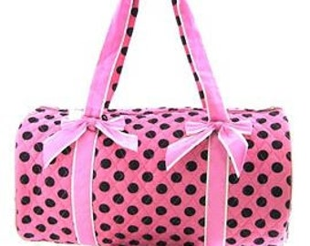 "Personalized 20"" Duffle Bag Dance Bag/Ballet Bag/PINK with BLACK Polka Dots  LUGGAGE"