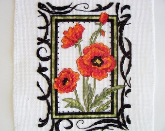 Orange Poppy Counted Cross Stitch - Completed Cross Stitch, Flower Cross Stitch, Finished Poppy Cross Stitch