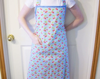 Womens Full Apron in Blue Fabric and Cherries and White Polka Dots, Cherry Apron, Woman's Apron, Butcher Apron