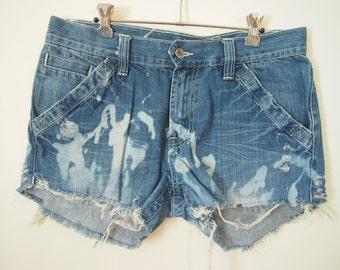 Reinvented OOAK blue cut-off destroyed denim shorts size medium