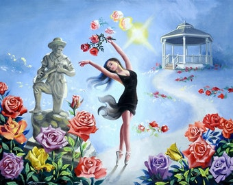Rose's Roses by RUSTY RUST is a one of a kind large fantasy ballet 30x40 oils on canvas painting / M-353