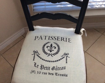 Made to fit Chair Pad- 2 inch foam - Patisserie - French Script, hand stenciled, knife edge, chair pad - 22 L X 22 W.