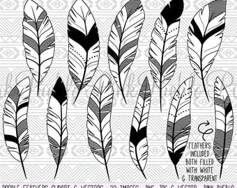 Doodle Feather Clipart Clip Art Vectors, Tribal Feather Drawings Clip Art Clipart Vectors - Commercial and Personal