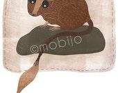 DIGITAL animal illustration-Endangered species 1: Brush-tailed Rabbit Rat-instant download-postcard size