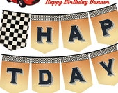 Vintage Retro Race Car Happy Birthday Banner - Bunting - Pennant - Print your own - DIY - Instant Download