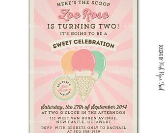 Vintage Ice Cream Parlor / Ice Cream Shop invitation, Ice Cream Party v.3, Customizable, Print your own