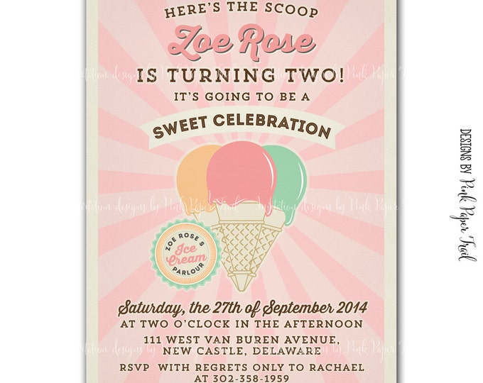 Vintage Ice Cream Parlor / Ice Cream Shop invitation, Ice Cream Party v.3, Customizable, Print your own