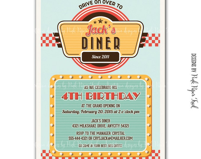 Retro Diner Themed Invitation, Digital File, Customizable Wording, Print your own