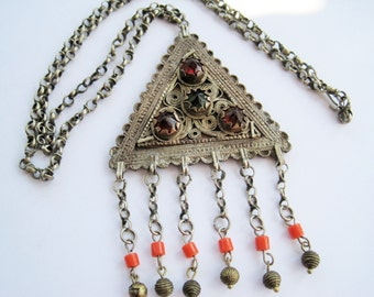 Balkan Necklace with Triangle Amulet from the Late Ottoman Era, Ethnic Jewelry
