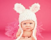 Baby Hats -Bunny Hat   - Baby Bunny Hat - Easter Bunny Earflap Hat  - by JoJosBootique