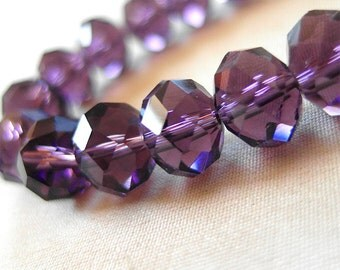 """36pc - 10mm Deep Purple Faceted rondelle Crystal beads, 10 x 8mm , 36 pieces, 10.5"""" strand"""