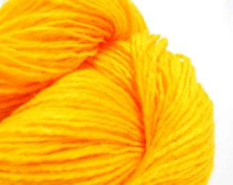 Vintage Yarn, 2 Ply Bright Yellow Yarn, Knitting Supplies, Crochet Notions, 3 Skeins,  Y100