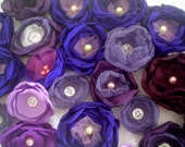 Fabric flowers --- 27 violet purple plum mix--- upcycled