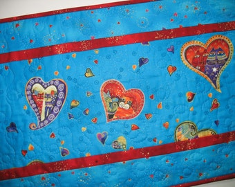 Valentine Table Runner Laural Birch, Hearts,  Cats and Swirls on blue, quilted, fabric from Clothworks