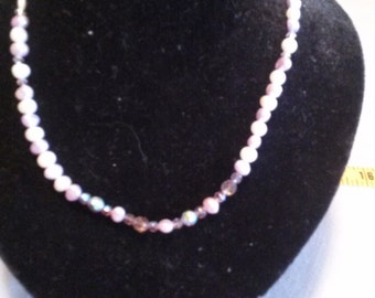 light purple fresh water pearls with sworaski crystal and beads