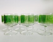 Georges Briard Green Icicle Pedestal Glasses