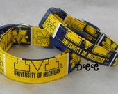 Dog Collar University of Michigan Wolverines Sports Baskeball Adjustable Dogs Collars D Ring Handmade Choose Size Accessory