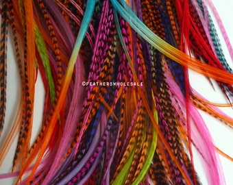 Creative Color Hair Feathers Wholesale Mixed Rainbow Feather Hair Accessories Feather Extensions USA - 50 Loose Rooster Feathers