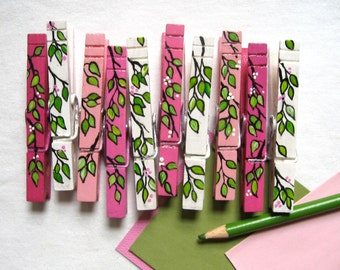 PINK  SPRING CLOTHESPINS painted cherry blossom magnets