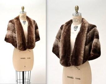 Vintage Beaver Fur Stole Brown Vintage Fur Stole Cape Capelet