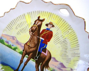 Canadian Mountie Police and Horse Vintage Plate