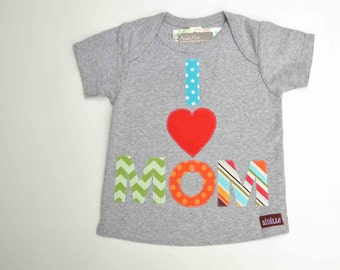 Size 18m 24m I Love Mom Tshirt, Gray Lap Tee, Polka Dot Stripe Chevron Prints, Short Sleeve, Applique Mommy Love, Mothers Day, Ready to Ship