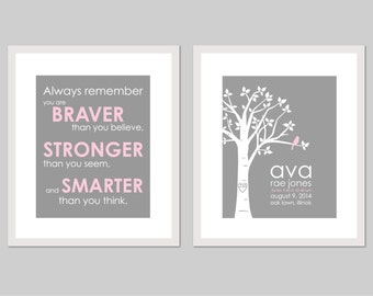 Birth Announcement Wall Art Girl Birth Announcement Baby Birth Announcement Pink and Grey Nursery Set You Are Braver Than You Believe Print