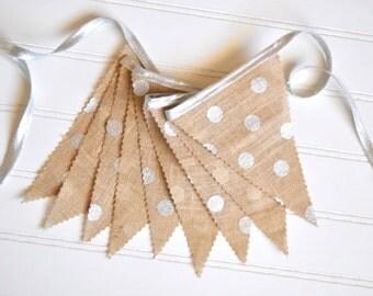 Burlap Fabric Pennant Banner, Bunting - Metallic Silver Polka Dot