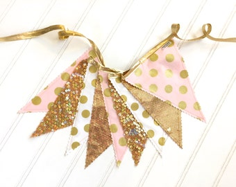 Metallic Gold,  Blush Pink, and White Pennant Fabric Banner - Bunting, Party Decoration, Photo Prop