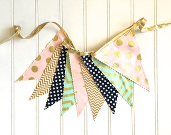 Gold, Pink, Mint, and Navy Fabric Pennant Banner, Bunting, Photo Prop