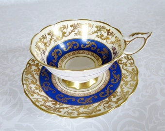 Blue Gold Chintz Tea Cup and Saucer Set  /  Vintage English China Royal Stafford Teacup and Saucer Set by SwirlingOrange11