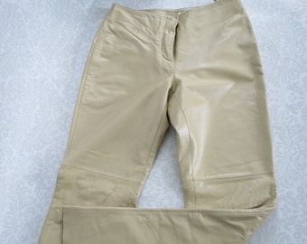 Vintage Leather Ecru Pants Pearlized Leather  /  Size 6 Womens Vintage Leather Biker Pants  /  Boho Beige Leather Pants