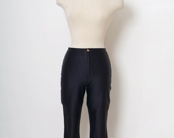 Vintage 70s Dress /  disco /  1970s Black /Vintage 1970s DISCO PANTS / High Waist / Spandex pants