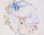buck deer under the moon - foxglove watercolor painting - original -art