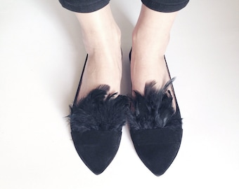 Pointy Chic Black Feathers Handmade Leather Loafers Slip on Shoes
