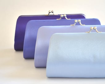 Set of 9 Satin Bridesmaid clutches / Wedding clutches - Custom Color