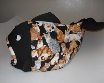 Fish Shaped Pet Bed  Cats on Black with Black Head
