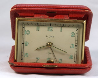 Florn travel alarm clock  in red case made in West Germany