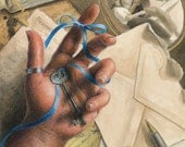 """Hand holding key tied to finger with blue ribbon, with love letters, photo, romantic mementos - Art Reproduction (Print) - """"Forget-Me-Knot"""""""