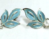 Earrings Coro Blue Enamel Leaf Screw Back