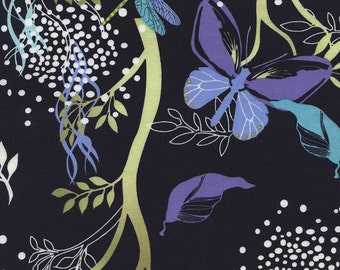 Night Garden in Navy (C3358) - MIDSUMMER'S Eve by Alice Kennedy - Timeless Treasures Fabric - By the Yard