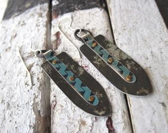 Tribal Industrial Turquoise Stripe Vintage Tin Earrings