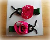 Pink Lady Bug Hair Clips - Set of 2 Pink Ladybug Barrettes