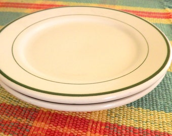 2 Small Vintage Plates, Restaurant Ware Plates, Pair of 2 White with Green Band Dessert / Sandwich Plates