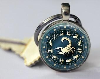 Scorpio Keychain Zodiac Accessories Astrological Sign Scorpion October November Birthday Astrology Key Chain, Key Fob